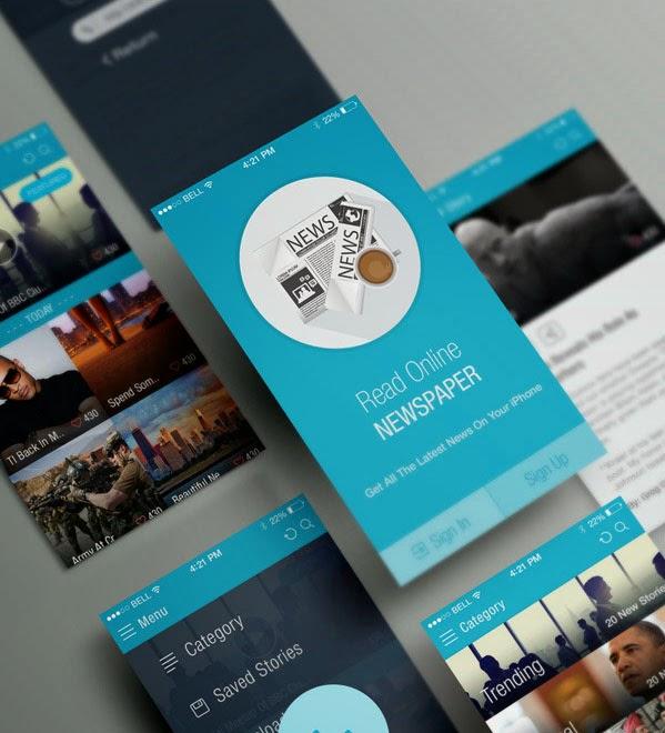 News Paper iOS App UI PSD