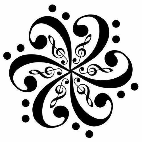 Music Sol keys stoned flower tattoo stencil
