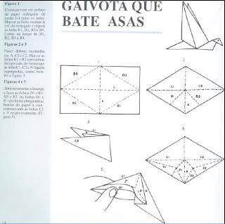 Origami - Dobraduras de papel machê. Gaivota que bate asas.