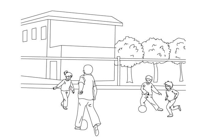 صورة اطفال يلعبون كرة القدم في ساحة المدرسة للتلوين