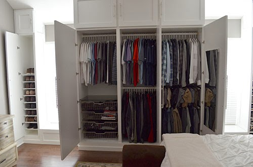 On Monday I shared with you the husband's biggest project yet, custom  built-in wardrobe closets for our master bedroom.