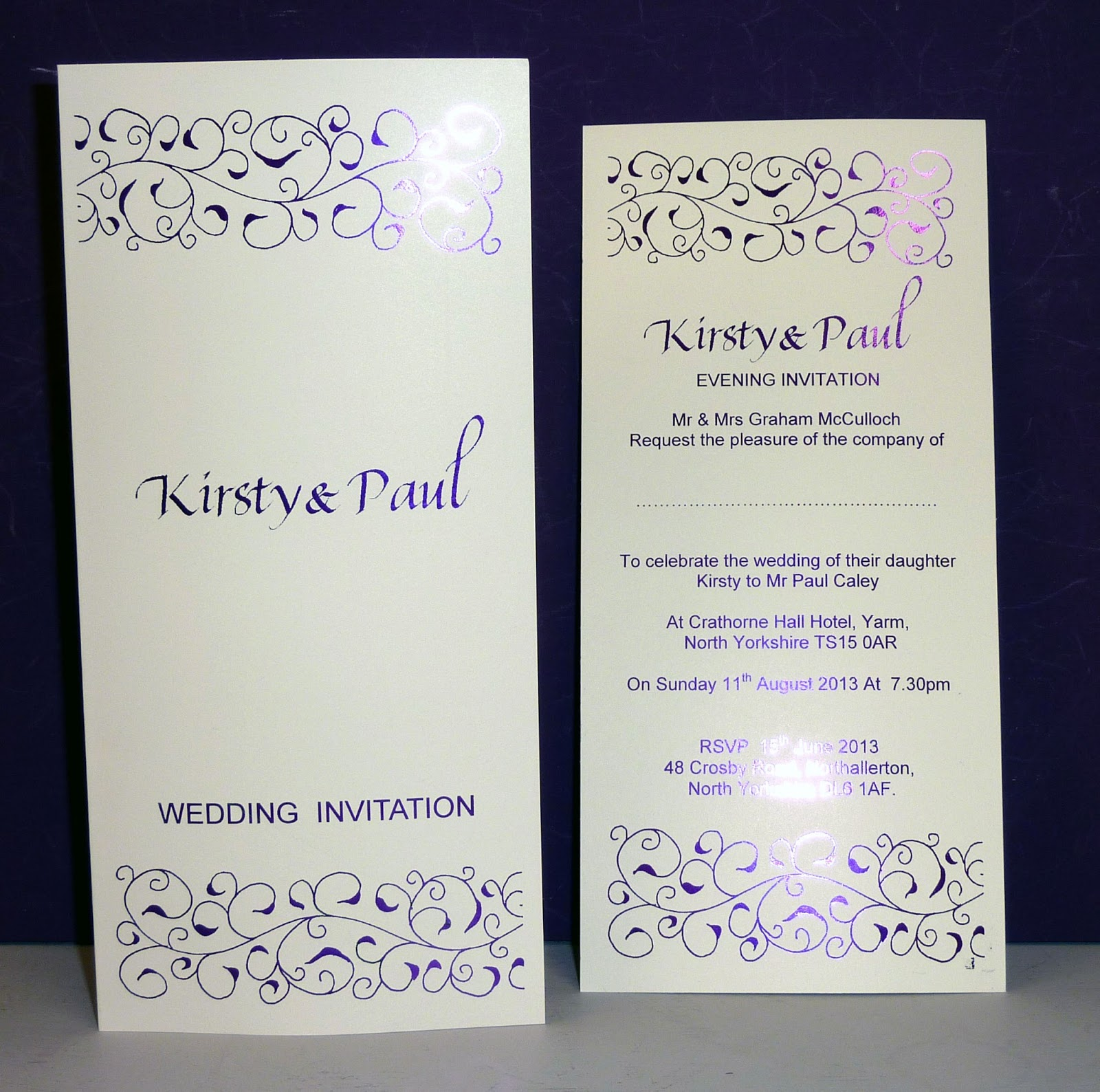 Inspired by Script: Kirsty & Paul - Cadbury\'s Purple Wedding ...
