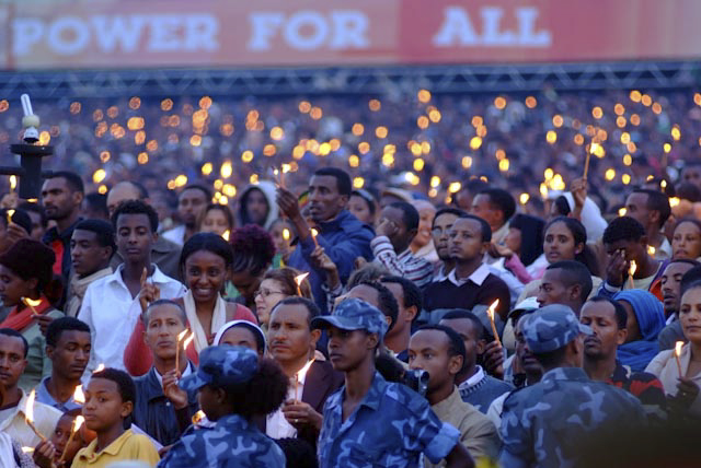 Photograph of Meskel Ceremony in Addis Ababa, Ethiopia by Michael Tsegaye