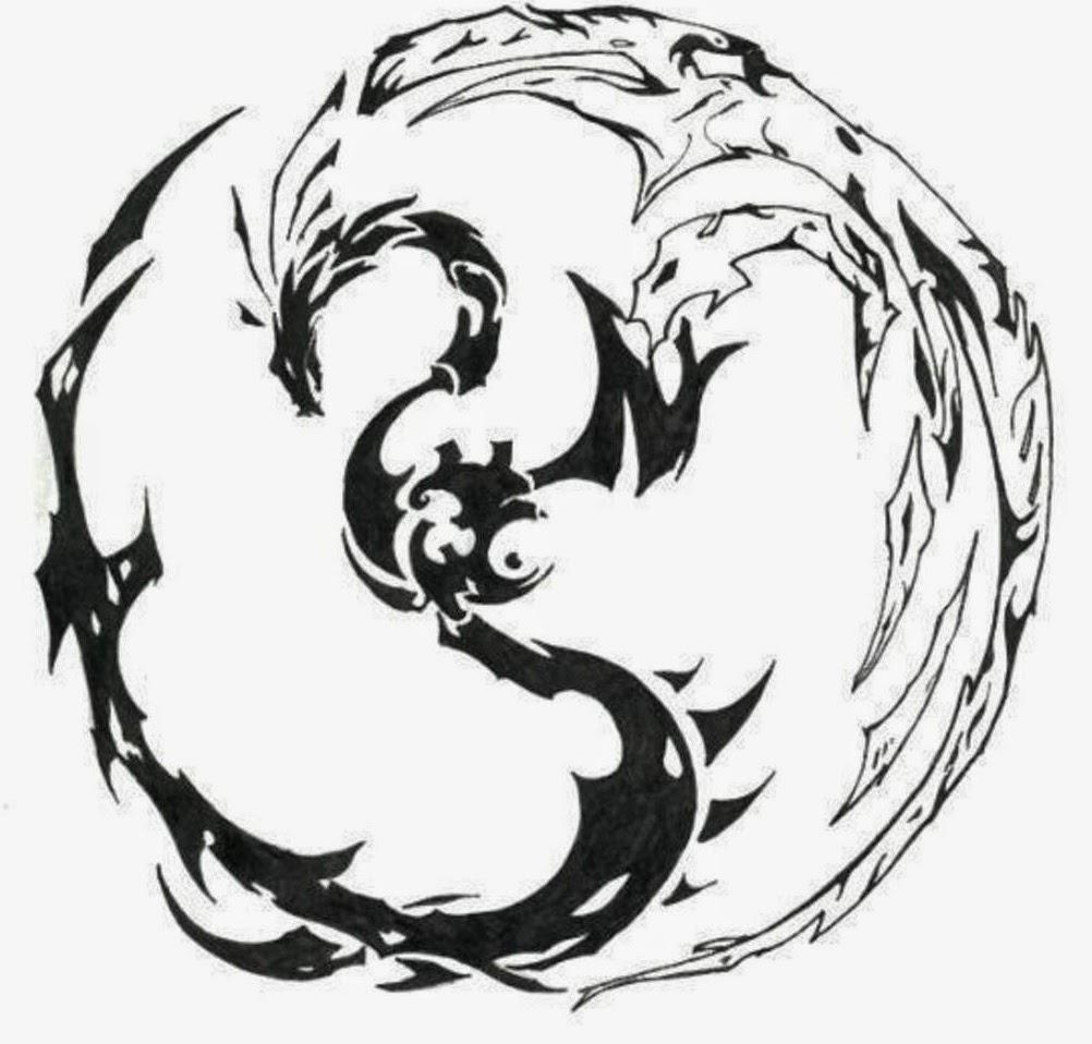 Dragon Yin-Yang tattoo stencil