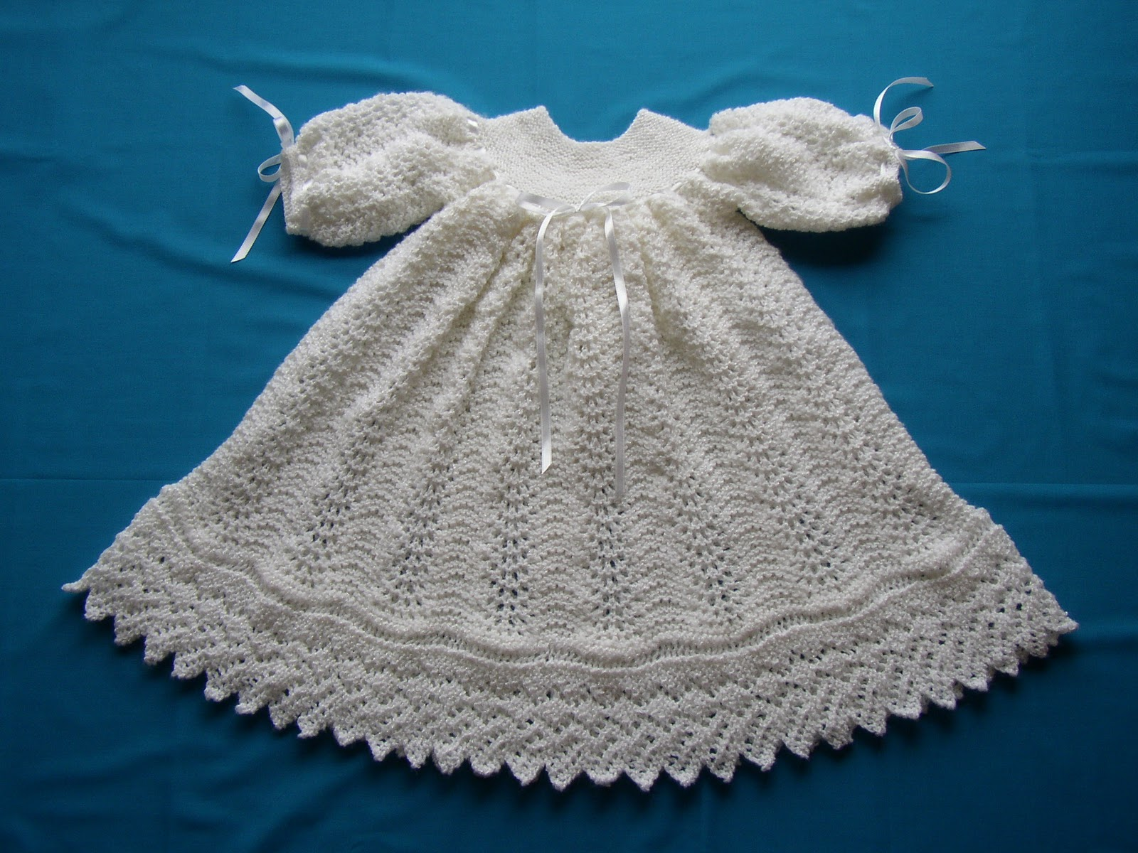 Knitting Pattern For Christening Shawl Free : Nittineedles: Ribbons and Lace Christening Gown