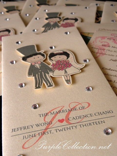Bling Bling With Cartoon Wedding Card, bling bling card, Keppel club, cartoon card, cartoon wedding card, wedding card, pocket style, pocket style invitation card, pocket style card, wedding cartoon invites, pearl ivory gold card, Singapore
