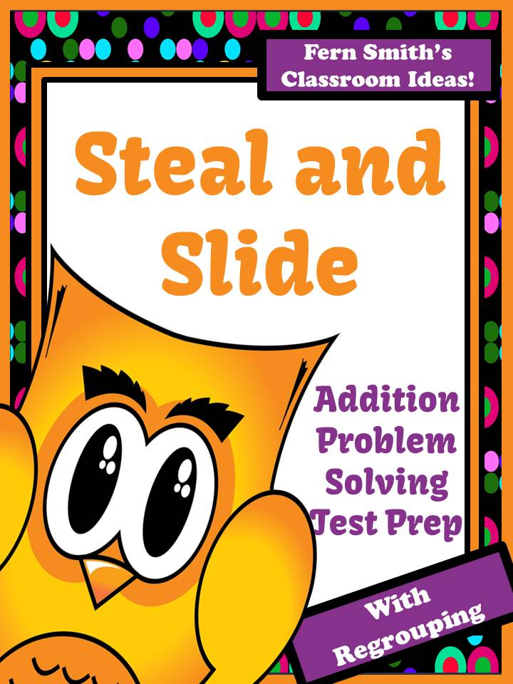 Fern Smith's Steal and Slide Test Prep Presentation and Printables - Addition With Regrouping