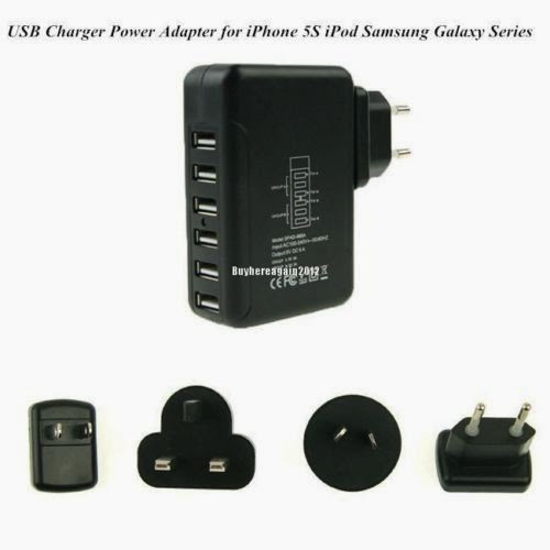6 Port USB Power Supply Multi Adapter Charger 5V 6A for i pad iphone galaxy BK O