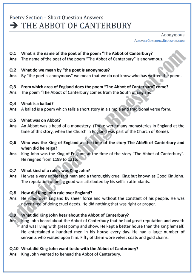 The-Abbot-of-Canterbury-Short-Question-Answers-English-XI