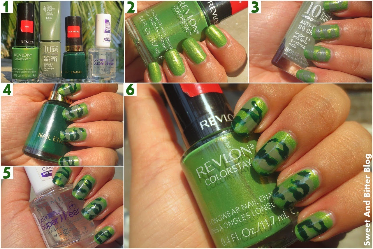 Green Camouflage Nail Art Without Tools Tutorial