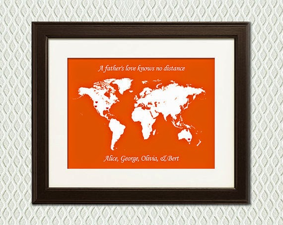 hearts on a map print with grandchild location