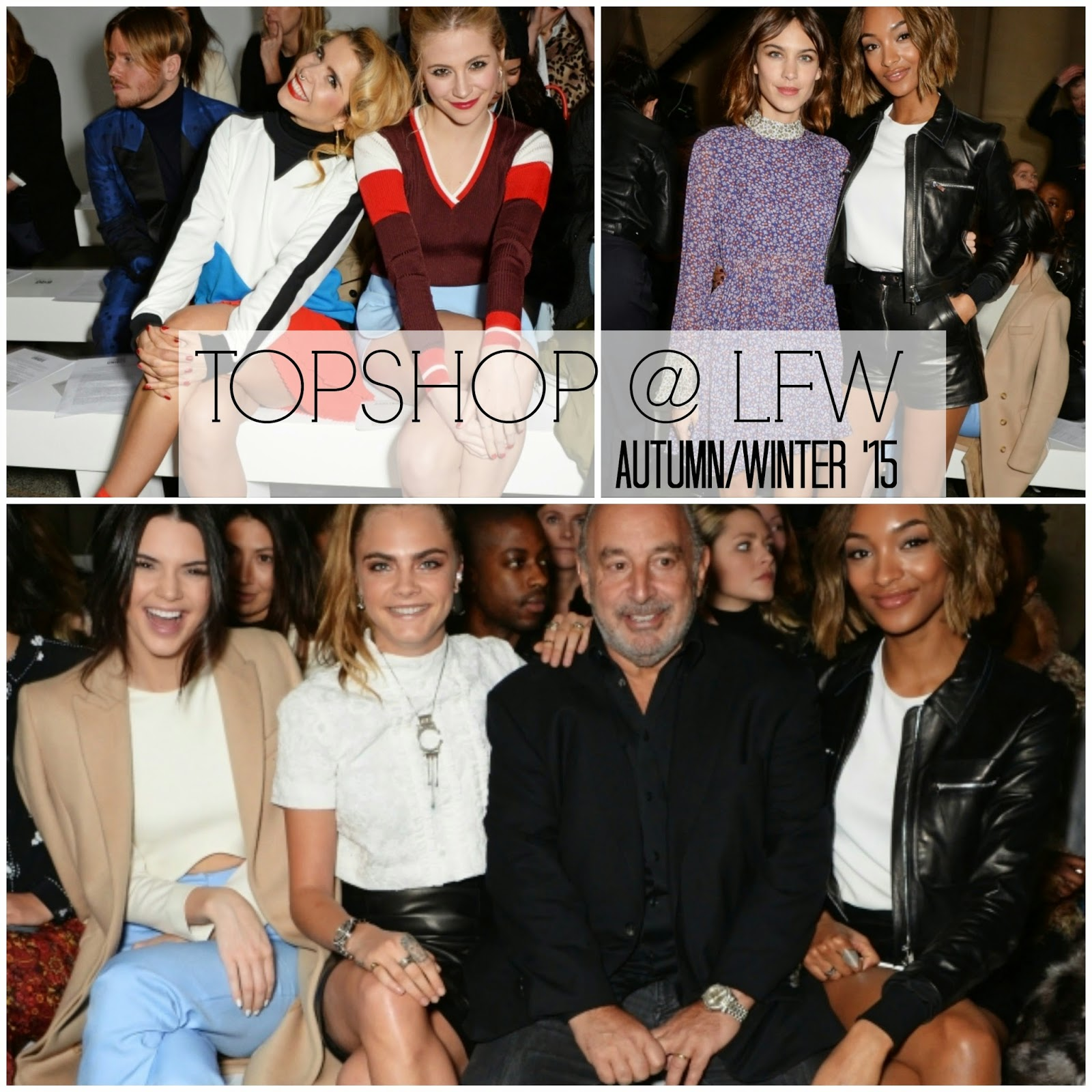 topshop lfw london fashion week autumn/winter aw 2015 trends kendall jenner cara delevigne alexa chung jourdan dunn paloma faith pixie lott frow