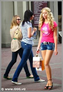 Blonde girl in jean shorts