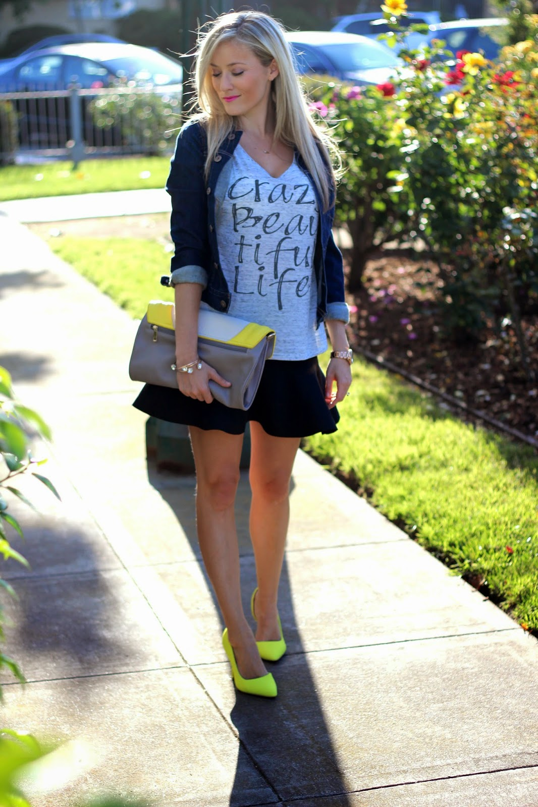 Crazy Beautiful Life Tee, Skirt, Neon Pump
