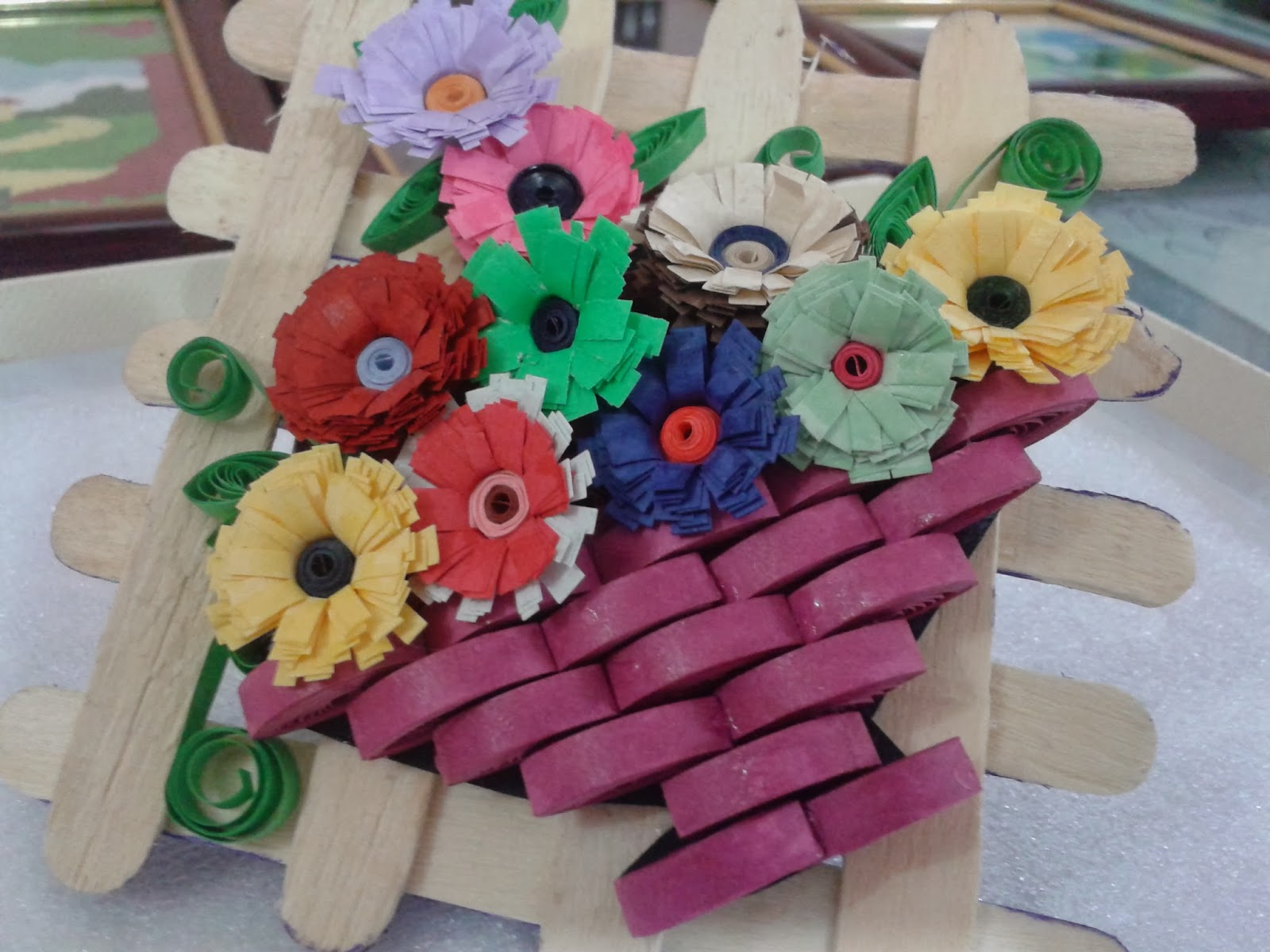 How To Make A Quilling Flower Basket : Paper craft and quilling quilled flower bouquet for