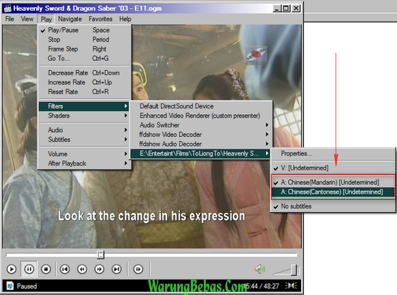 Heavenly Sword and Dragon Sabre 2003 language Option