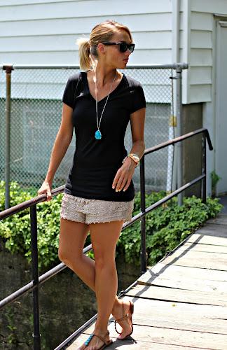 Crochet Shorts u0026 Black Tee 2 Ways - Pop of Style