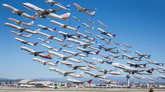 Increíble fotografía captura 8 horas de despegues de aviones
