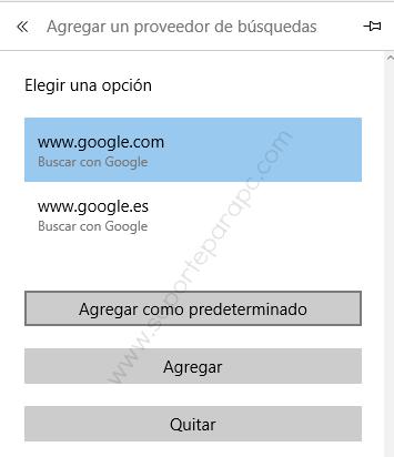 agregar un proveedor de búsquedas