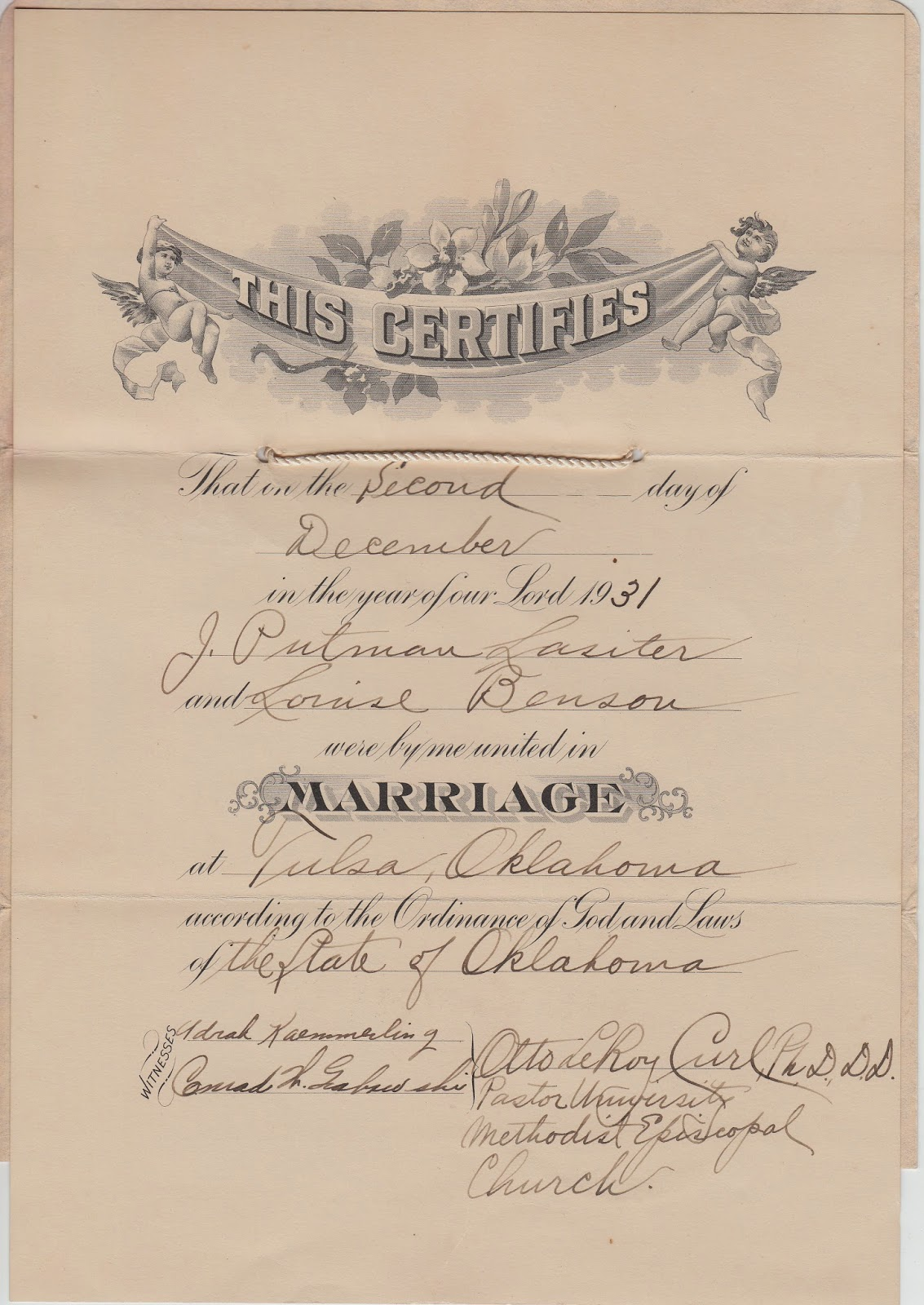 Marriage Certificate Louise Benson and James Putman Lasiter