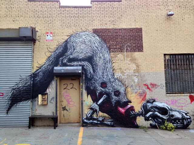Street art by roa in new york city usa - 3rd most popular mural of august 2013