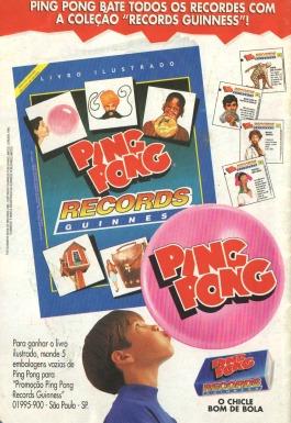 Propaganda do Ping Pong com a série de figurinhas do Records do Guiness, em 1995.