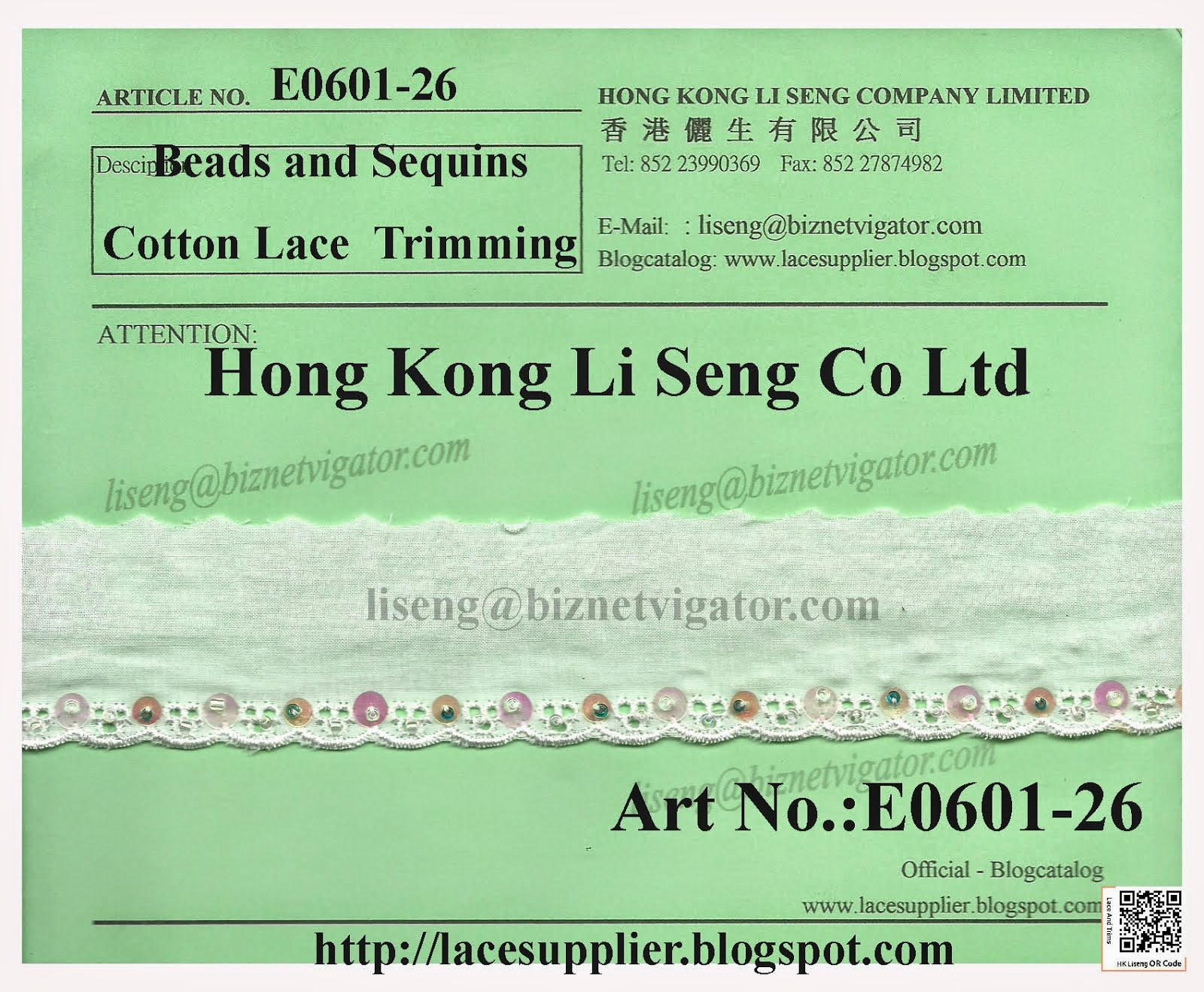 Cotton Lace Trims With Beads and Sequins Manufacturer - Hong Kong Li Seng Co Ltd
