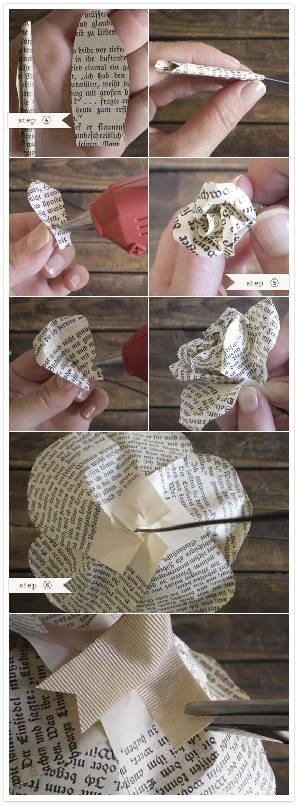 casamento faça você mesmo buquê de flores feito com folhas de livro jornal reciclado diy