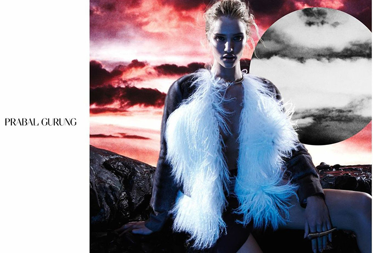 Rosie Huntington-Whiteley in the Prabal Gurung fall 2014 ad campaign photographed by Daniel Jackson, styled by Karl Templer protégé Elin Svahn