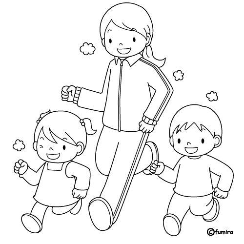 Niños haciendo deporte para colorear - Imagui