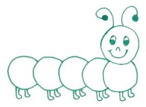 дети рисуют гусеницу