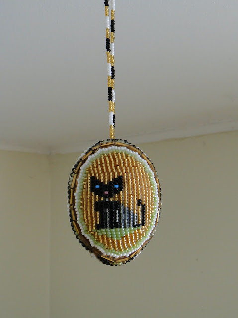 Beaded Easter Egg Cat Ukraine