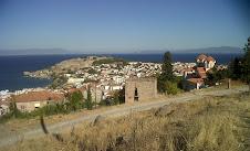 Vue du nord de Mytilene et des côtes Turques
