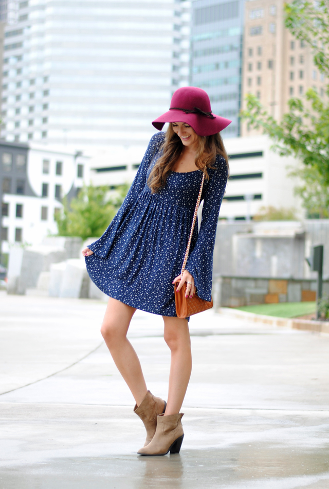 Floppy hat, floral dress and booties for fall