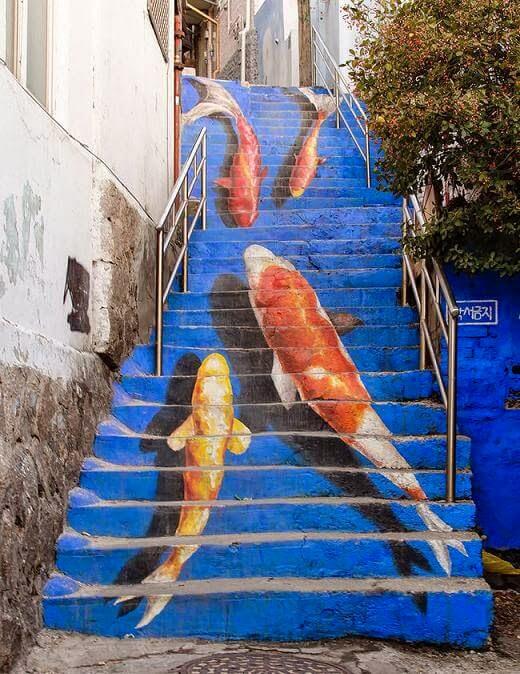 Koi steps in Seoul, South Korea