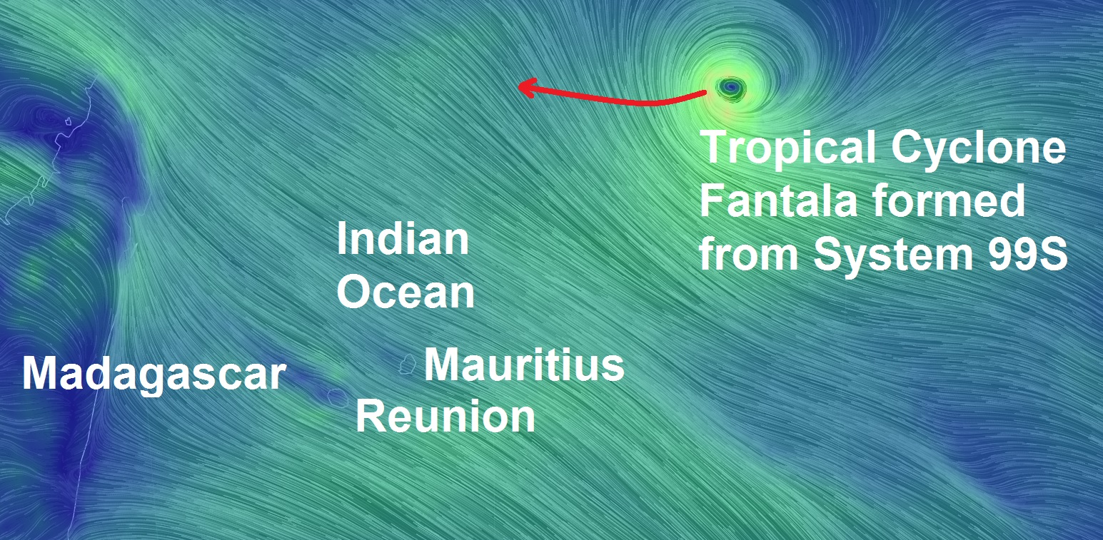 Powerful Newborn Tropical Cyclone Fantala Forms In The Indian Ocean Heading For Madagascar