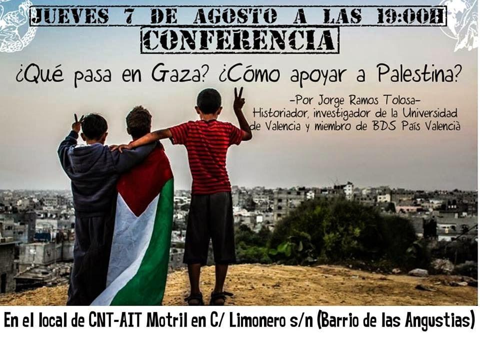 CNT-AIT, Motril, crónica conferencia sobre, el conflicto en Gaza