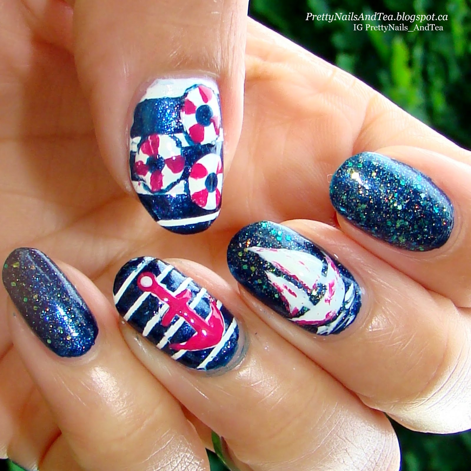 Nautical Nails | Pretty Nails And Tea | Avon Nail Polish