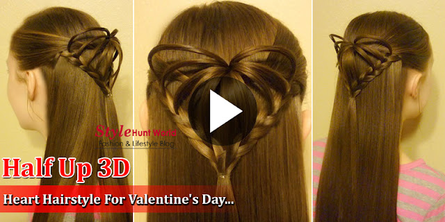 Valentine's Hairstyles - Half Up 3D Heart Hairstyle For Valentine's Day!