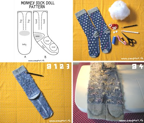 c e m p r u t: tuto on friday: the monkey sock doll...!!!