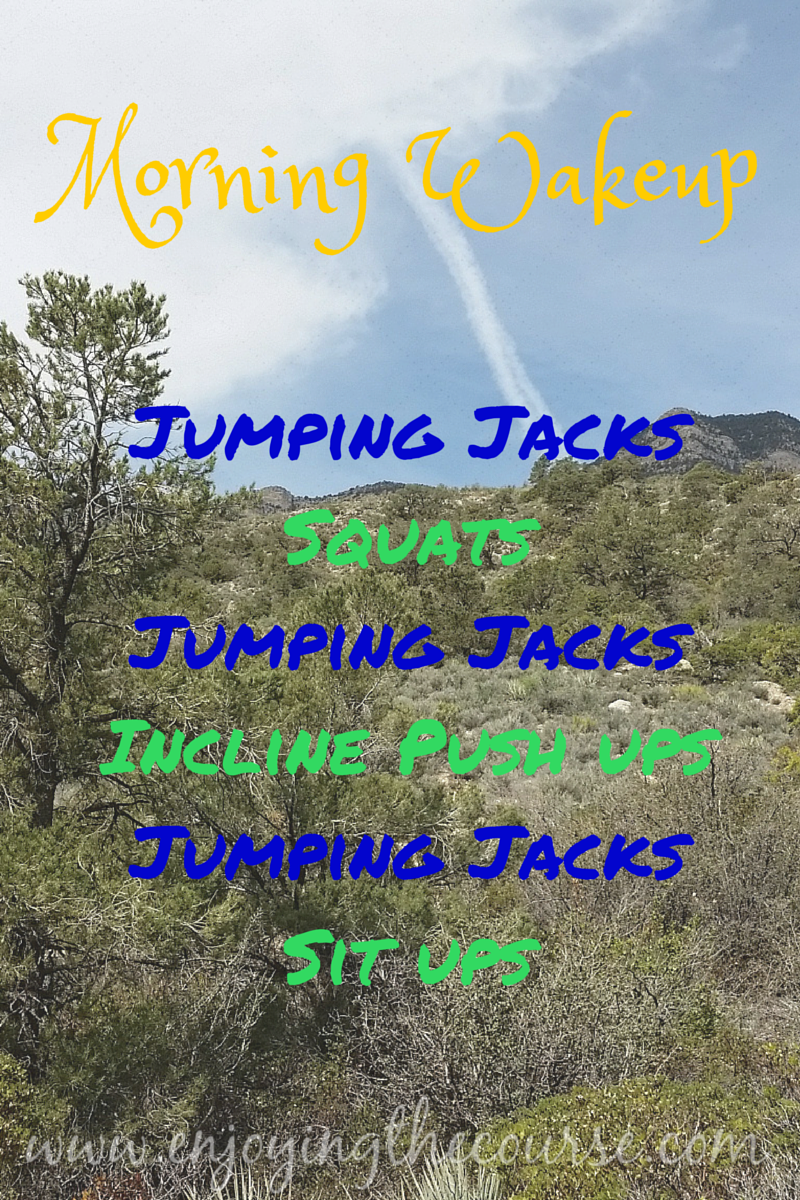 Morning Wakeup routine - Jumping Jacks, Squats, Jumping Jacks, Incline Push Ups, Jumping Jacks, Sit ups