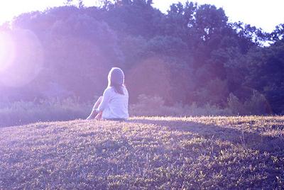 woman, girl, sitting, alone, sunset, woman