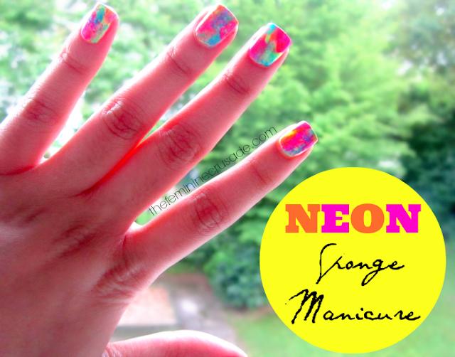 Neon Sponge Manicure