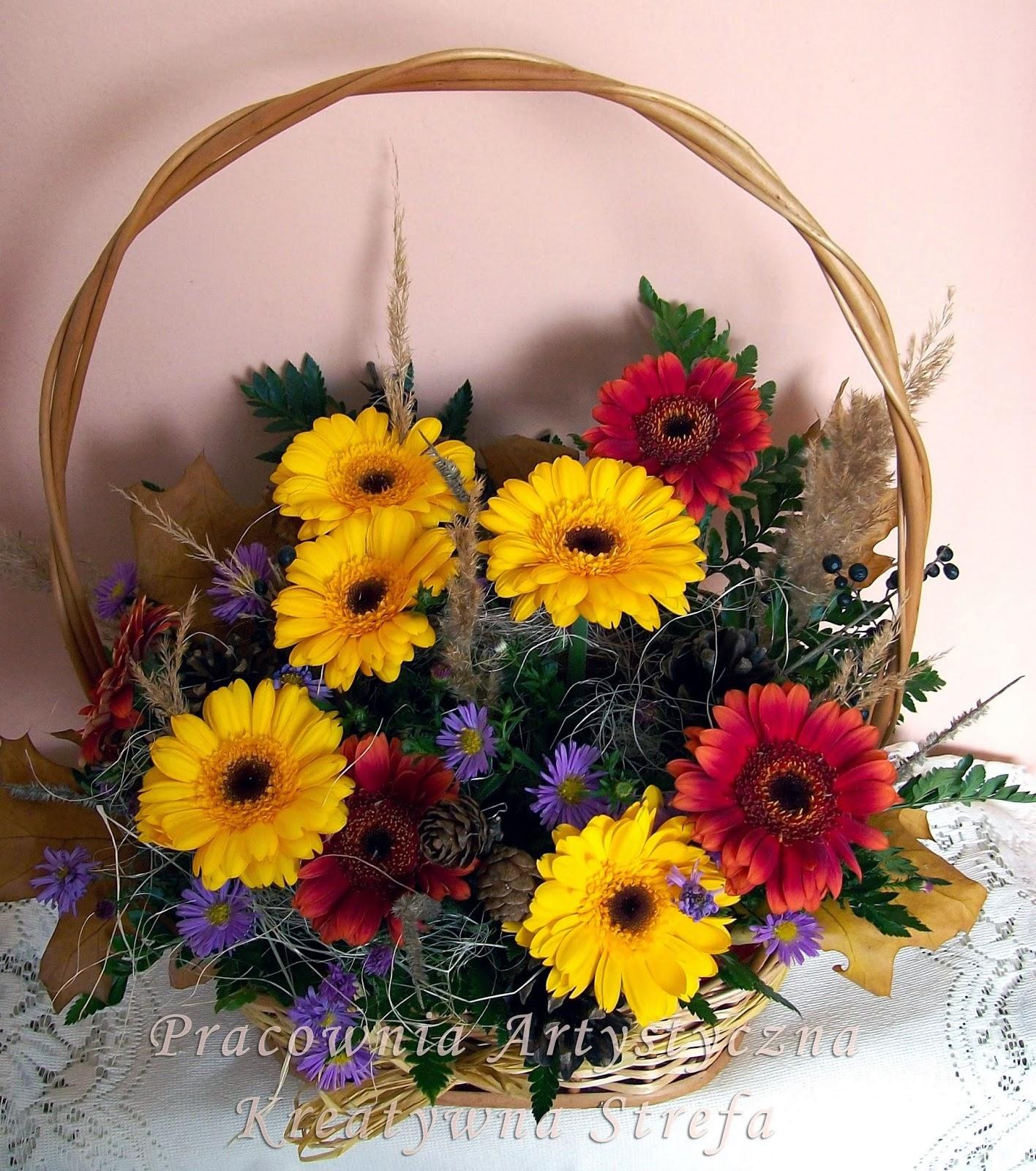 Jesienny koszyk kwiatów