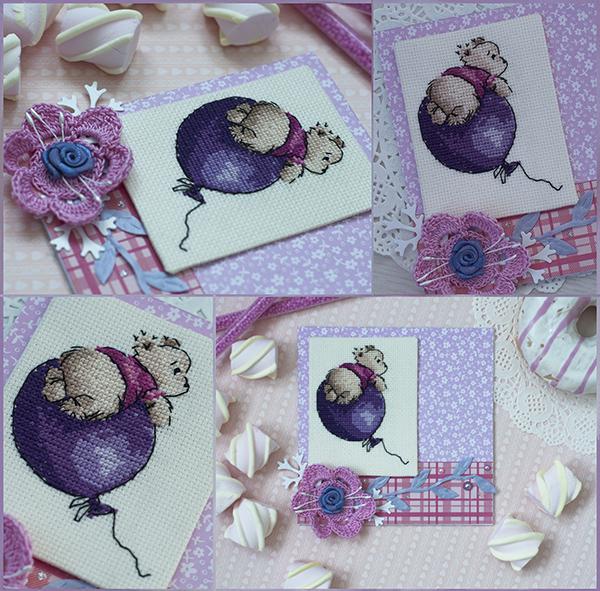 открытка с вышивкой, открытка мишка, скрап и вышивка, мишка на воздушном шаре, открытка сиреневая
