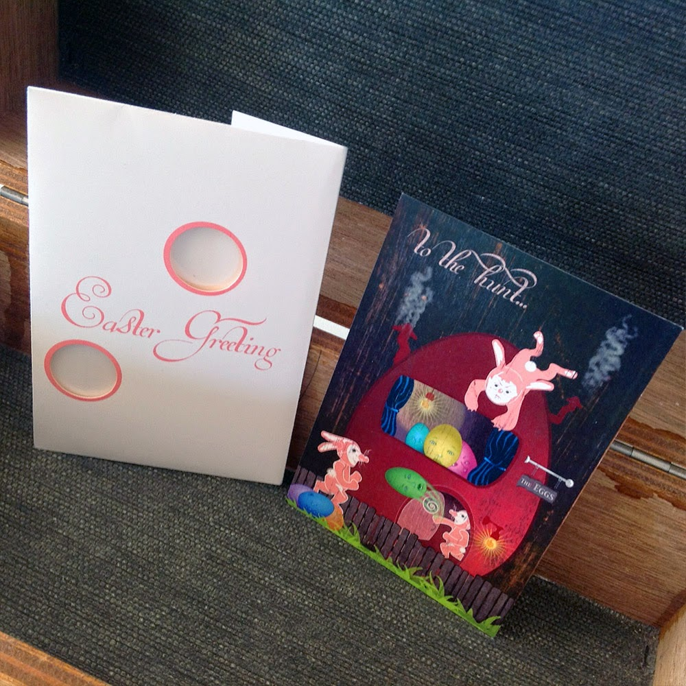 Limited edition postcard and peek-a-book folio by holiday artist Bindlegrim for Easter