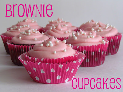 brownie cupcakes with pink frosting