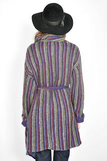 Vintage 1970's purple and green striped Missoni knit sweater with tie front closure.