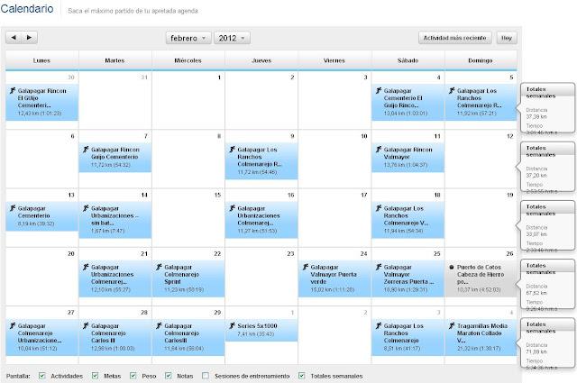 Calendario entrenamientos Febrero