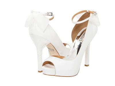 Badgley mischka white bridal shoes